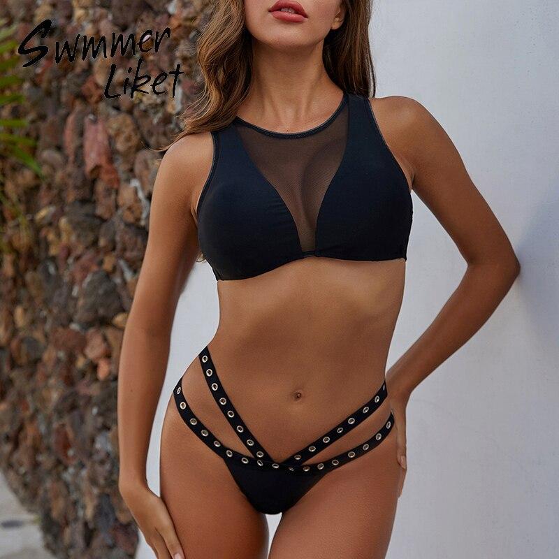 Sexy Black Bikini 2020 Mujer See Through Swimsuit Female Hollow Out Swimwear Women Summer Bathers High Cut Bathing Suit Biquini