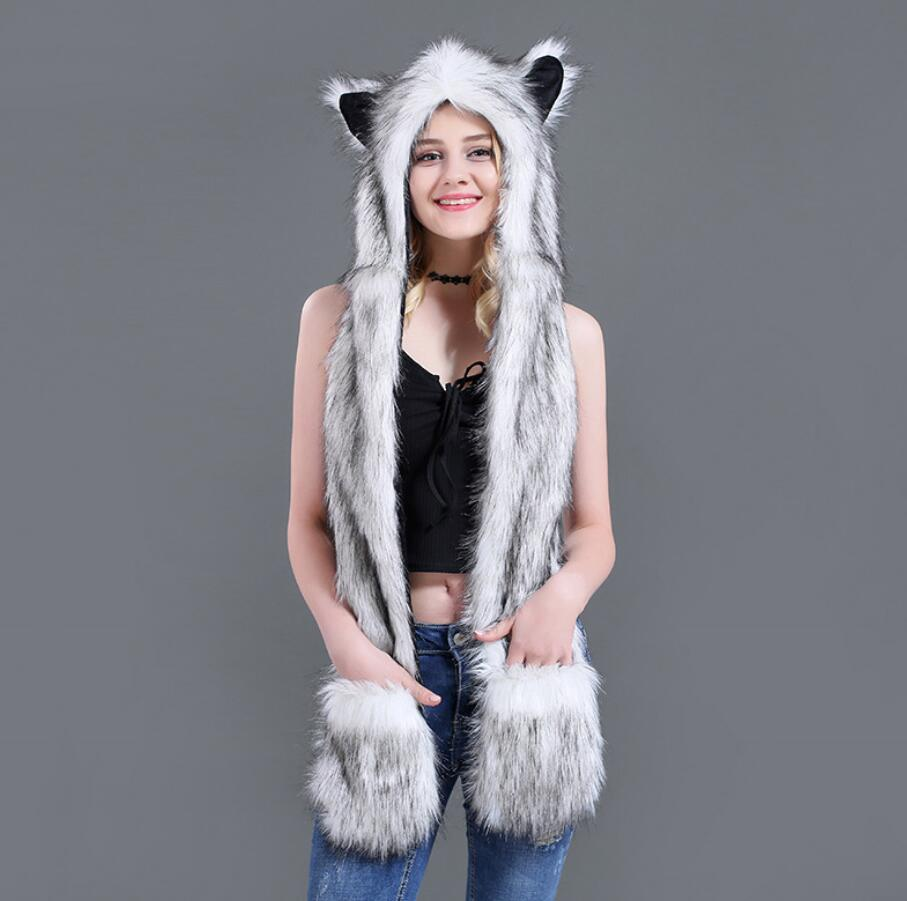 Scarf and Mittens Gray Wolf Zippered Pocket Plush Long Animal Hat