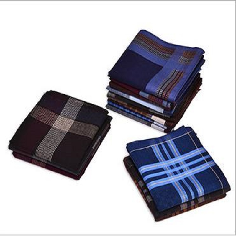 12 Pcs/lot 100% Cotton Solid  Plaid Fashion Men Handkerchief  40cm*40cm Men Gift