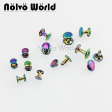 50 100pcs 6mm 8mm 10mm Rainbow double cap rivets fasteners high quality leather crafts bags shoes studs