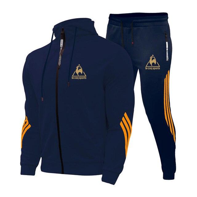 2 Pieces Sets Tracksuit Men's Sets Print Men Hooded Sweatshirt+pants Pullover Hoodie Sportwear Suit Casual Sports Men Clothes 1