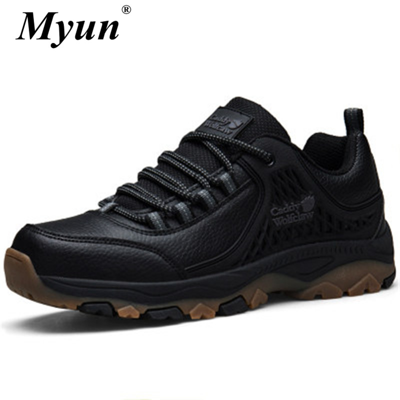 Men's PU Leather Hiking Shoes Spring Autumn Waterproof Non-slip Lace-Up Soft Outdoor Sneakers Man Rubber Trekking Trail Footwear