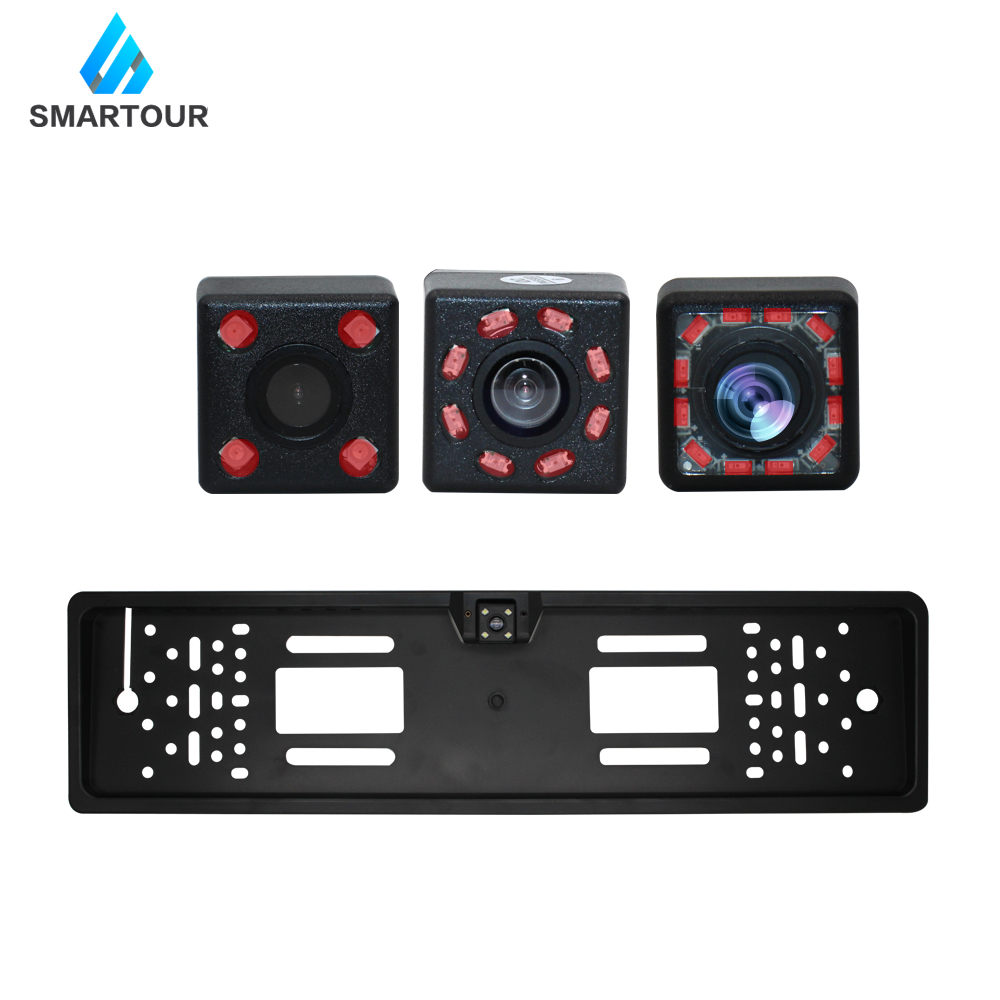 Smartour Car Rear View Camera EU European License Plate Frame Waterproof Night Vision Reverse Backup Camera 4 Or 8 LED Light