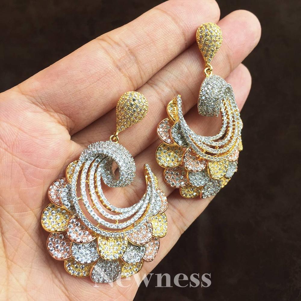 Nouveauté exquise fleur forme Super cubique Zircon pour bijoux femmes amoureux fiançailles largeur boucles d'oreilles mode bijoux cadeau - 3