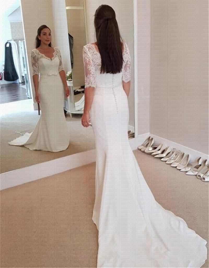 Cheap Vestido de Noiva Simple Mermaid Wedding Dresses 20 Lace ...