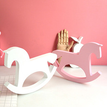 Buy 1pc White Wooden Rocking Horse Balance Home Decor Kids Toys Wood Crafts Small Horse Hand Carved Gifts Children's Room Decoration directly from merchant!