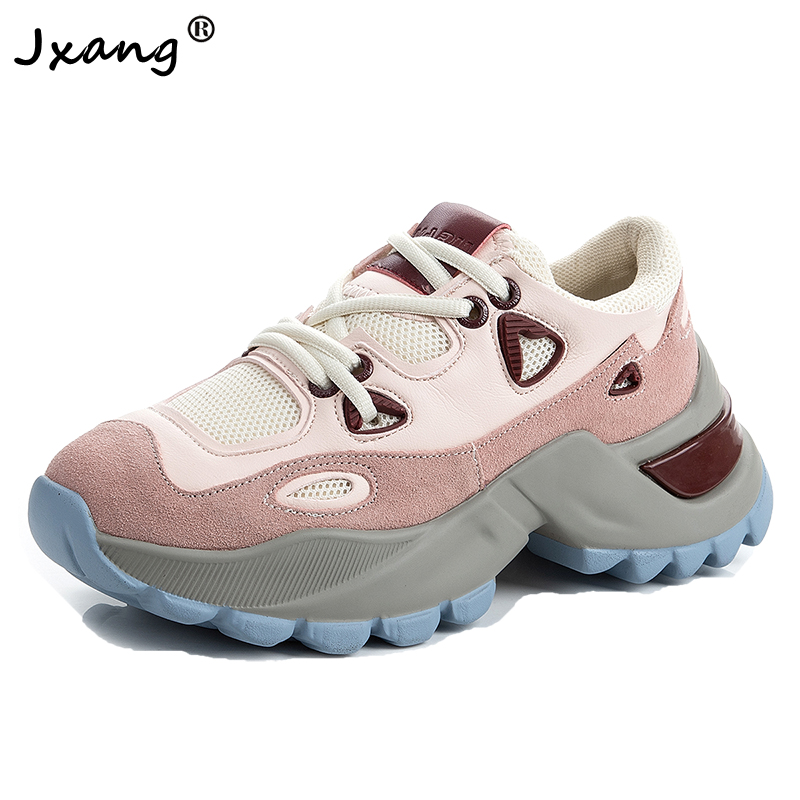 JXANG Women Chunky Sneakers Vulcanize Shoes Korean Fashion New Female Black White Platform Thick Sole Casual Shoe Woman