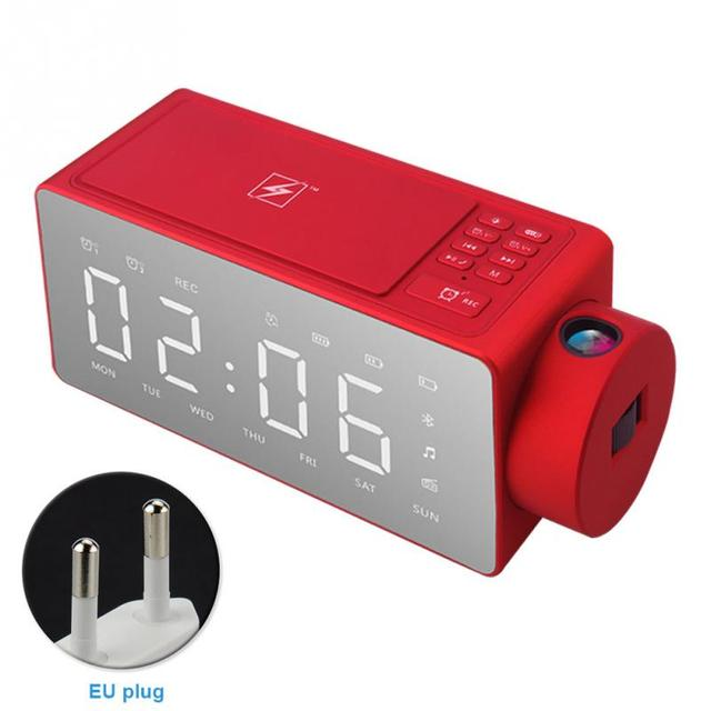 360-degree Surround Bluetooth 4.2 Speaker Projection Alarm Clock Wireless Charging Smart Speaker FM Radio Voice Prompt Anti-drop