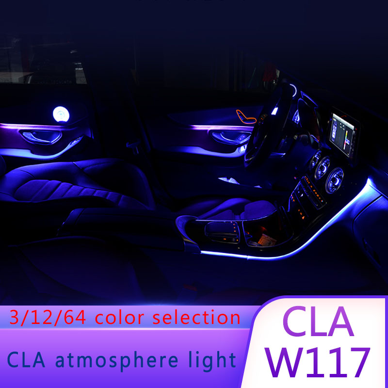 10 Pcs/Set LED Illuminated Ambient Lamp Atmosphere Light 12 Color Fit For Mercedes Benz A B GLA CLA W117 2015-2018