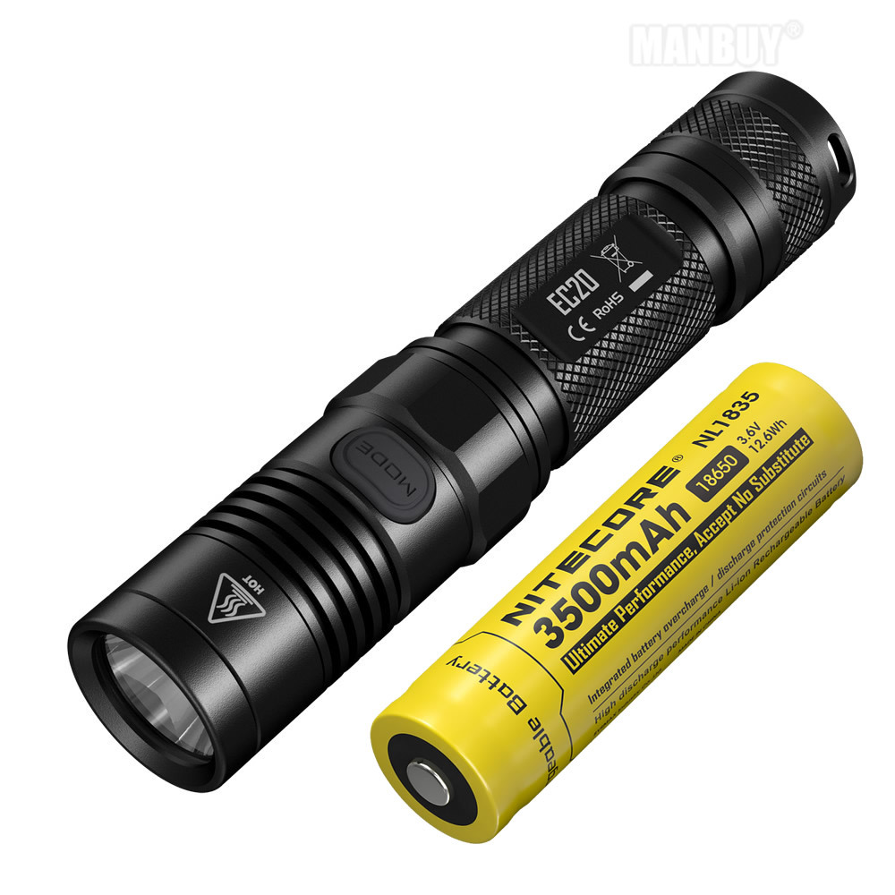 Free Shipping NITECORE EC20 960lms Flashlight +18650 Rechargeable Battery Waterproof Outdoor Portable Torch Hard Light Lanterna