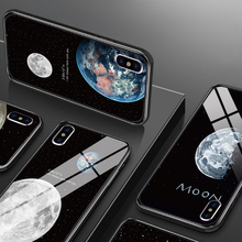 цена на Black Phone Case for iPhone XR X XS MAX Protective Tempered Glass Case for iPhone 6 6S 7 8 PLUS Moon Case for iPhone 5 5S SE