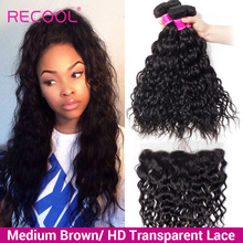 Recool שיער ברזילאי מים גל חבילות עם סגירת HD שקוף תחרה פרונטאלית עם חבילות שיער טבעי חבילות עם פרונטאלית