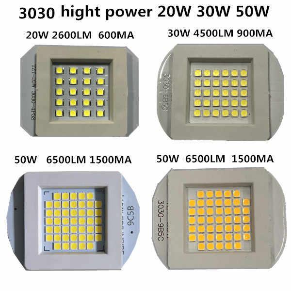 La Watts LED COB 3030 10W 20W 30W 50W 1500MA 32V 6500LM 1500MA LED led chip 50w lámpara led de alta potencia para luz de calle