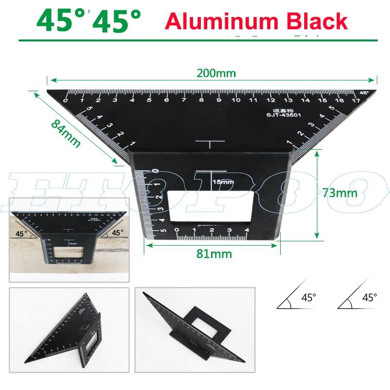 Алюминиевый сплав 45 градусов 90 градусов деревообрабатывающий Многофункциональный квадратный Измеритель угла транспортир над линейкой - Цвет: 45 degree black