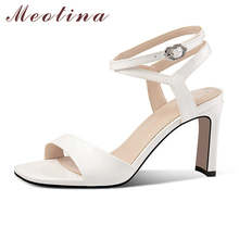 Meotina Natural Genuine Leather High Heel Sandals Women Shoes Thick High Heel Ankle Strap Shoes Square Toe Party Sandals Ladies new genuine leather buckle strap women sandals high heel thick heel metal studded shoes women party