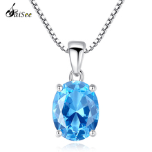 SaiSee Luxury Topaz Sky Blue Stone 2.3 Carat Oval Shape Natural 925 Sterling Silver Chain Necklace for Women Jewelry Gift