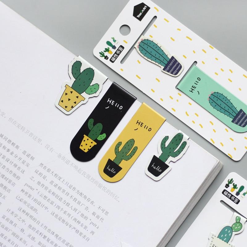 Симпатичные кактус магнитные закладки бумажные наклейки канцелярские офисные клип Papelaria холодильник школа Escolar поставка подарок