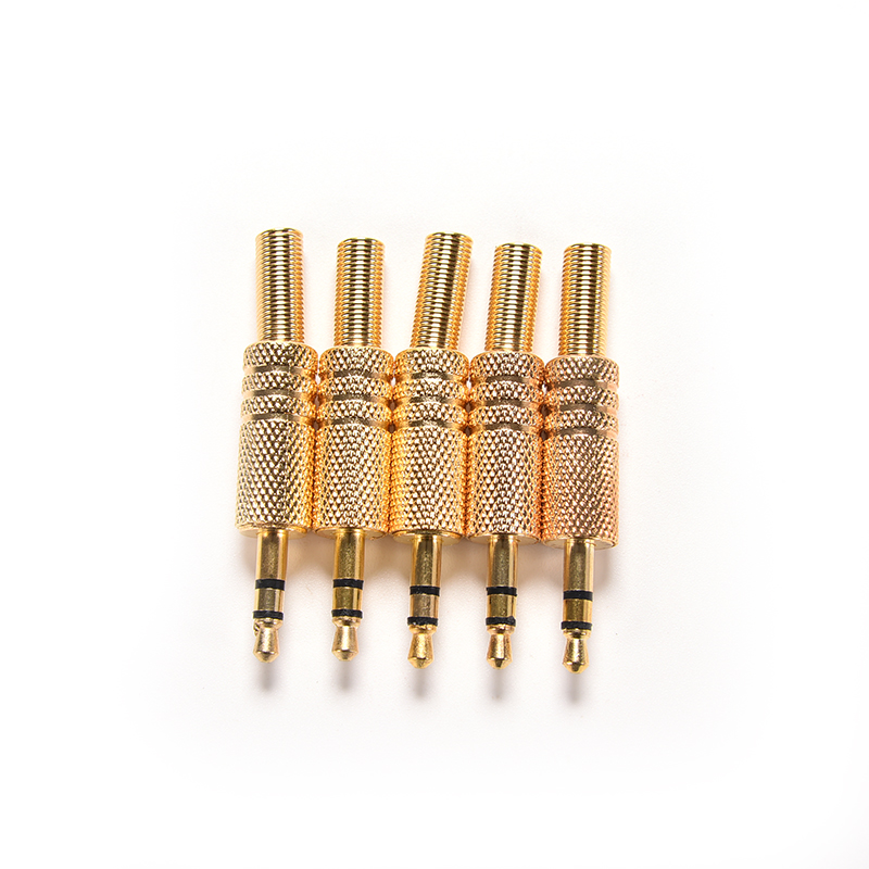 5pcs 3.5mm Stereo Audio Jack Plug Mini 1/8Inch Jack Plug Headphone Male Plug Coax Cable Audio Adapter Connecter Soldering