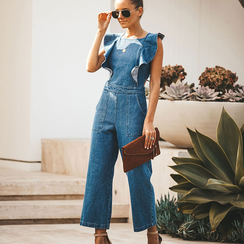 Fashion Spring / Summer Lace Up One Piece Rompers Women's Sexy Backless Light Blue Ladies Party Jumpsuit Straight Pants
