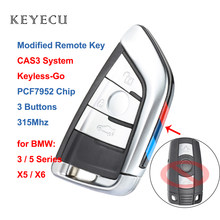 Keyecu cas3 keyless-go modificar inteligente remoto chave 3 botões 315mhz/868mhz pcf7952 para bmw série 3/5 x5 2006 2007 2008 2009 2010