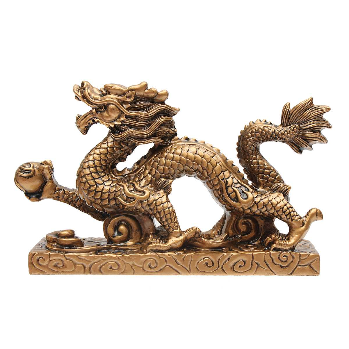 Lucky Gold Dragon Figurine Statue Ornaments Chinese Feng Shui Craft For Luck And Success Wealth Decoration Home Geomancy Gift