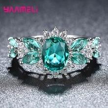 Классические свадебные кольца с синими кристаллами для женщин, 925 пробы, серебро, AAA, CZ, стразы, модные, для помолвки, рождественский подарок, ювелирные изделия