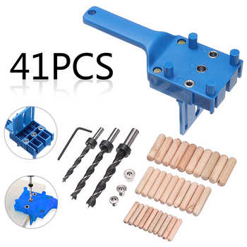 41PCs Wood Doweling Jig Locator Set Dowel Pins Hole Saw 6/8/10Mm Drill Bits Suitable For Timbers Man-made Woods Wear Resistance - DISCOUNT ITEM  70 OFF Tools
