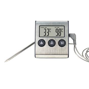 Cyfrowy grillowanie termometr piekarnika mięso do kuchni do jedzenia miernik temperatury do grilla funkcja timera z sonda ze stali nierdzewnej tanie i dobre opinie KETOTEK CN (pochodzenie) thermometer meat Termometry kuchenne Gospodarstw domowych termometry Z tworzywa sztucznego Dial