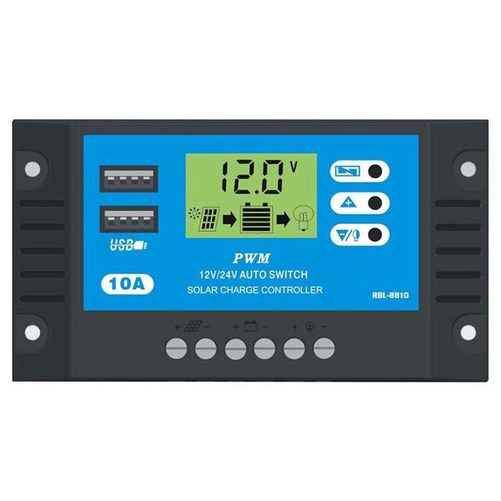 10A/20A/30A автомобильный Солнечный контроллер заряда PWM Контроллер ЖК-дисплей двойной USB 5 В выход солнечная панель PV регулятор - Цвет: B