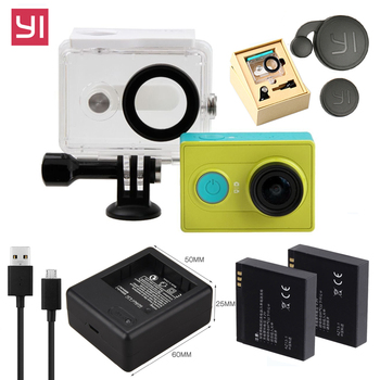 цена на High Quality Xiao mi yi battery + xiaoyi dual charger + Yi Original Waterproof Housing Case for Xiaomi Yi Camera Accessories