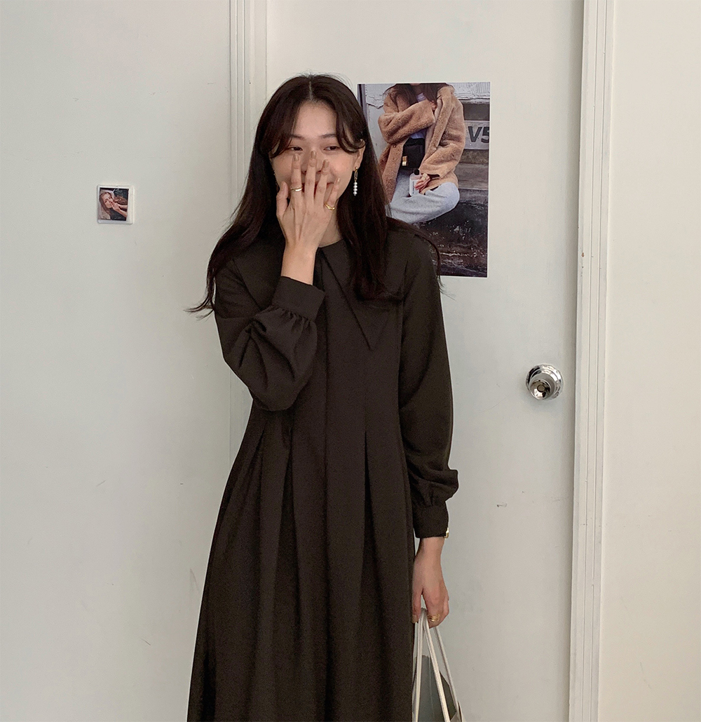 H025f4e443f1545bc8aa127dbca24da70p - Autumn Big Lapel Collar Long Lantern Sleeves Solid Loose Midi Dress