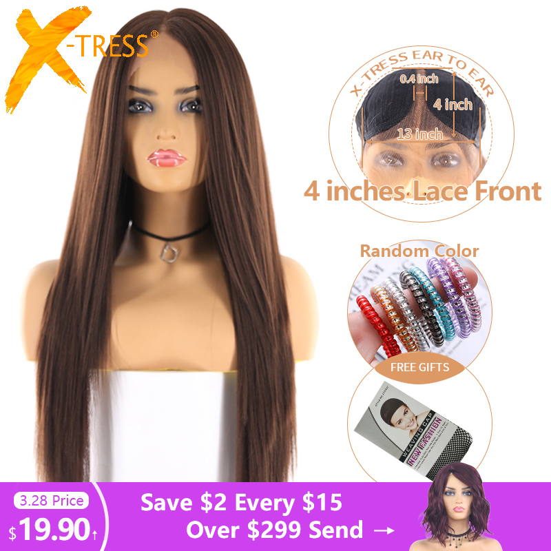 Medium Brown Color Synthetic Hair Wigs For Women X-TRESS Long Yaki Straight Lace Front Wig With Natural Hairline Middle Part