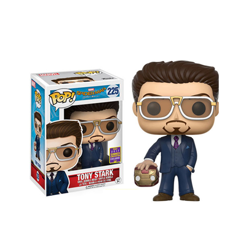 Funko Pop Marvel The Avengers Spider-Man Iron Man Tony Stark 225# Movie Character Model Toy
