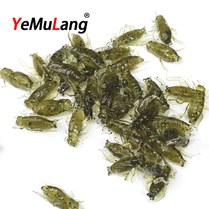 YeMuLang 20 pcs/lot Artificial Mini Cricket Soft Bait 0.6g/2.5cm  Fishing Lure For Fishing Tackle Pesca Iscas BB290