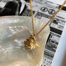 Korean high quality fashion simple sterling silver 925 unisex solid bear necklace jewelry birthday party anniversary gift