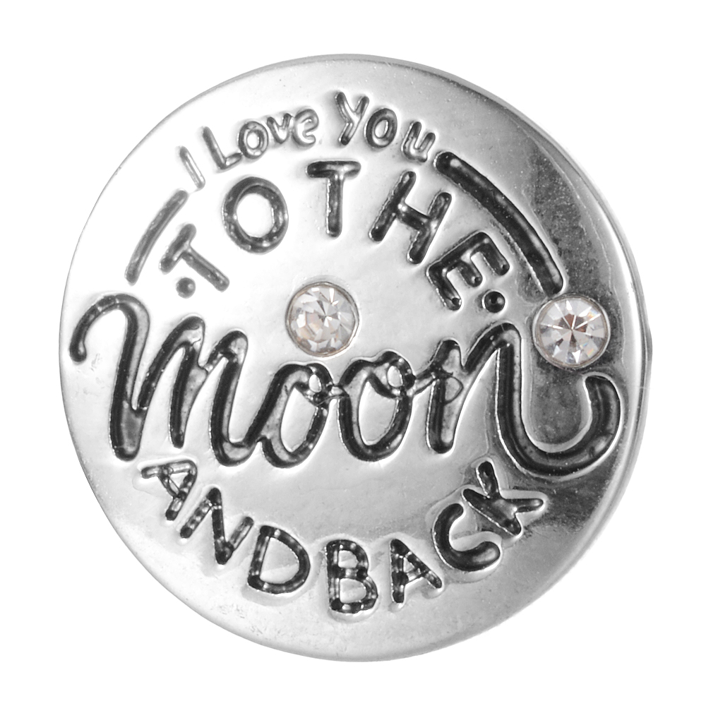 I love you to the moon and back design Snap button colorful crystal 18mm Snap Charms DIY jewelry Accessory lover gift Vn-2080