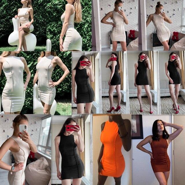 CNYISHE Sleeveless Casual Fashion Mini Dresses Skinny Summer O-neck Women Bodycon Neon Orange Dress Streetwear Vestidos Robes 2