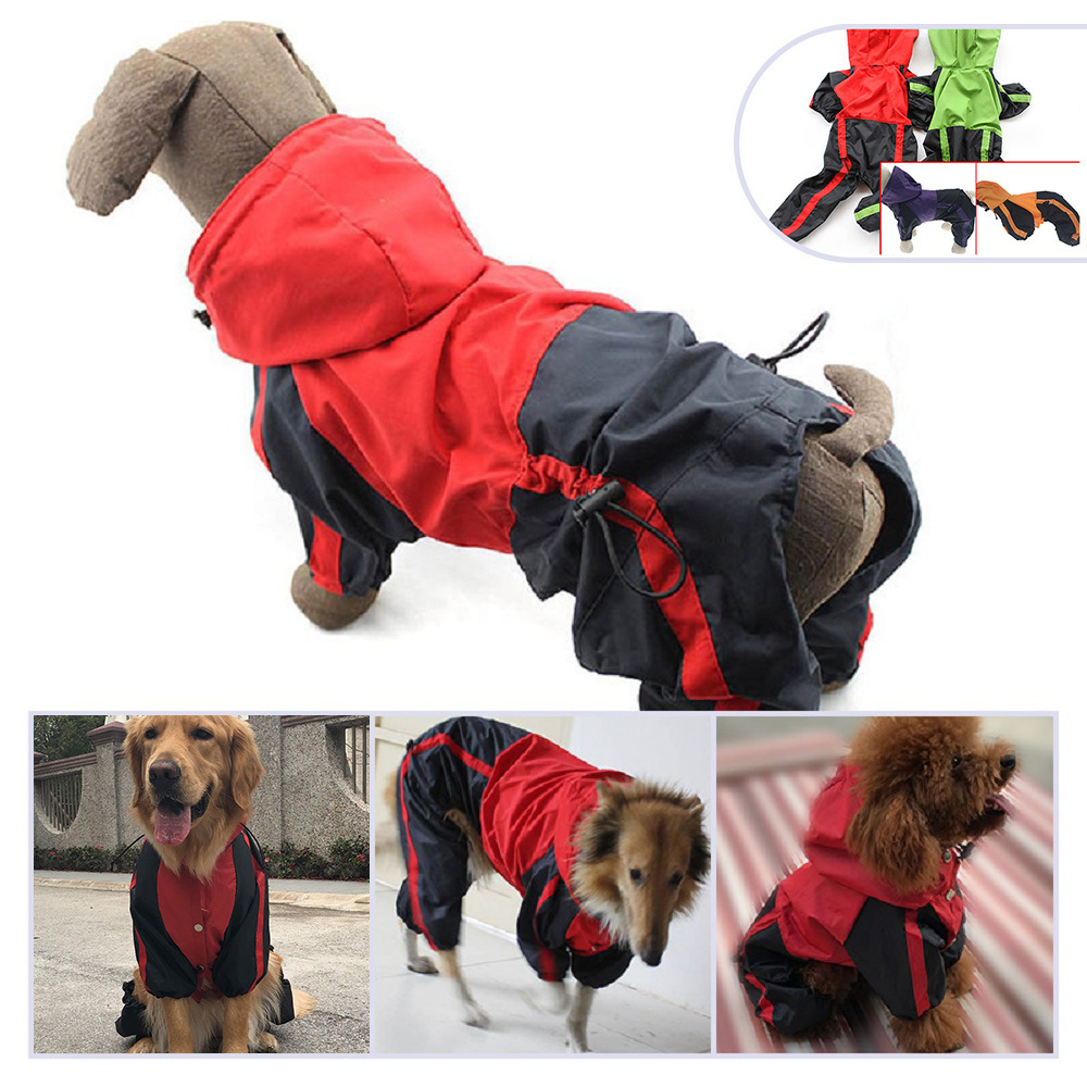 Large Dog Raincoat Waterproof Clothes Rain Jumpsuit For Big Medium Small Dogs Golden Retriever Labrad Outdoor Pet Coat Clothing