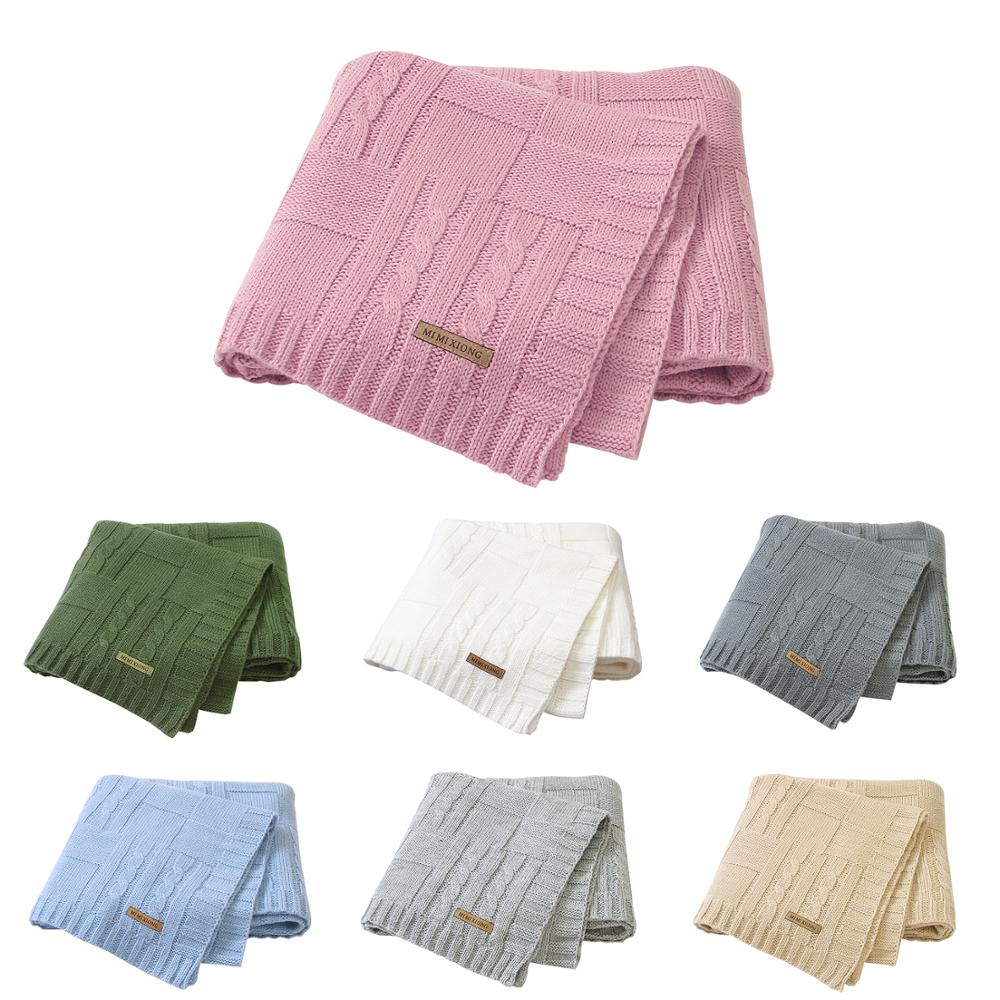 Baby Blankets Super Soft Newborn Infant Bebes Swaddle Wrap Blanket 100*80CM Solid Knitted Children Stroller Bedding Quilts Brand