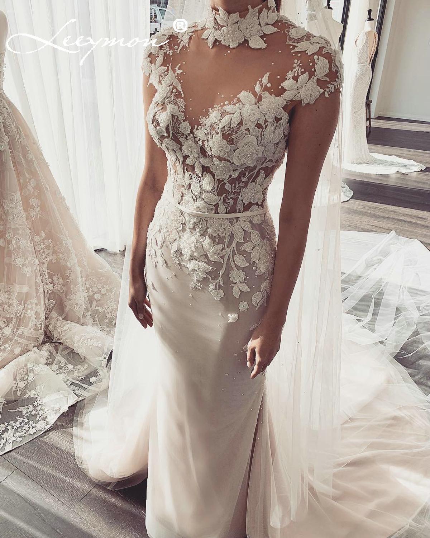 Leeymon Mermaid Lace Wedding Dress Beaded Cap Sleeevs Ilussion Top Floor-Length High Neck Bridal Gown Robe De Mariee