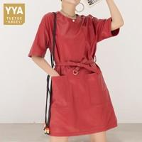 Brand Genuine Leather Dress Female Streetwear Short Sleeve Round Neck Elegant Office Sheepskin Straight Dress Plus Size 3XL