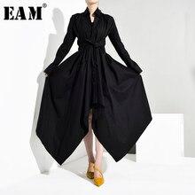 [EAM]-Vestido camisero negro para mujer, vestido asimétrico con cuello vuelto, manga larga, corte holgado, moda Primavera otoño 2021, JY7780