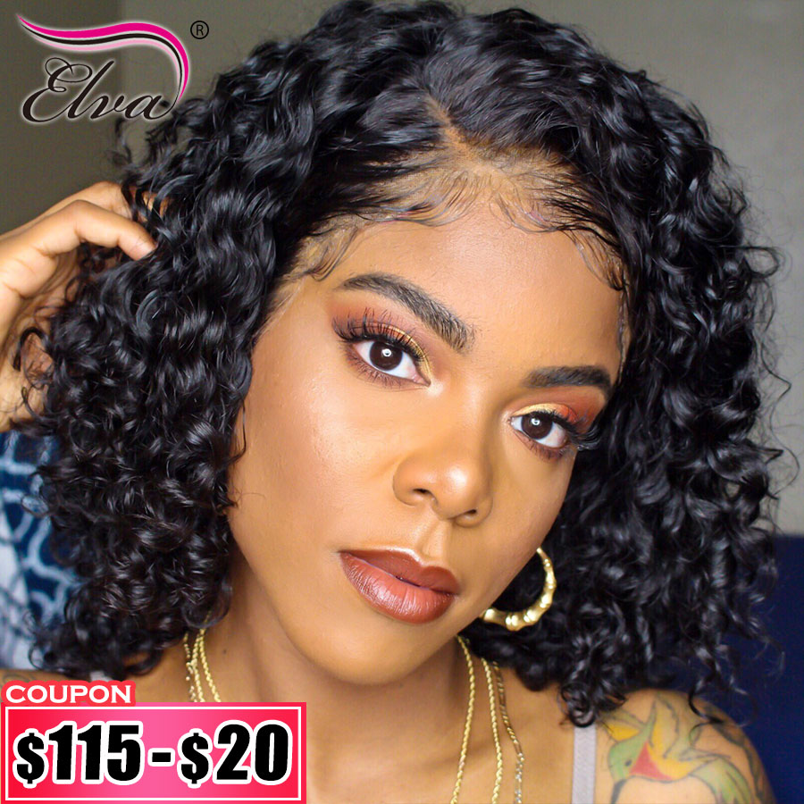 Elva Hair Lace Front Human Hair Wigs Pre Plucked With Baby Hair Short Curly Human Hair Bob Wigs For Black Women Remy Hair Wigs