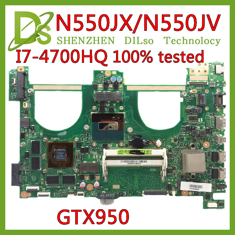 KEFU N550JV For ASUS N550jv N550JK N550JX Laptop Motherboard I7-4700HQ CPU PM GT950 2GB/4GB Video Memory Mainboard Test