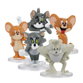5pcs/set Cartoon Tom & Jerry Cat and Mouse Mini PVC Figures Kids Toys Dolls Micro Landscape Doll Decoration Collection Gifts Toy image