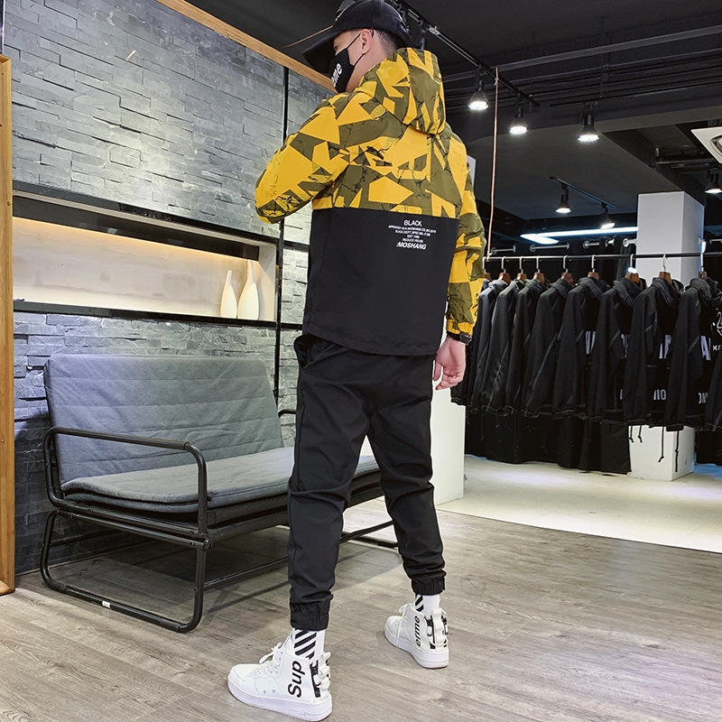 Tracksuits Set 2019 Men Autumn Sporting Suit Hooded Jacket Sweatshirt+Pant Camouflage Patchwork Hip Hop Sportswear 2PCS Clothing