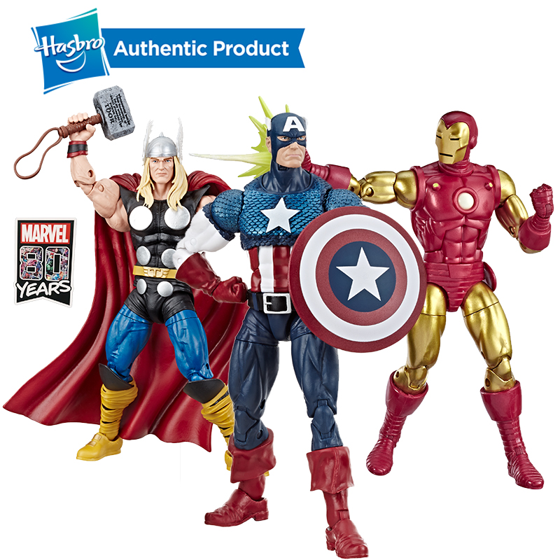 Hasbro Marvel Comics 80th Anniversary Legends Series Scale Vintage Comic-Inspired Captain America Collectible Action Figure