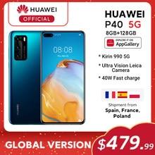 Em estoque versão global huawei p40 5g smartphone kirin 990 8gb 128gb 50mp câmeras 6.1 polegada android10 22.5w supercharge nfc