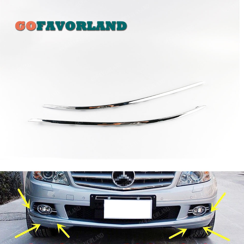 Pair Front Bumper Chrome Trim Molding Left Right 2048850821 2048850721 For <font><b>Mercedes</b></font>-Benz W204 <font><b>C300</b></font> C350 2008 2009 2010 2011 image