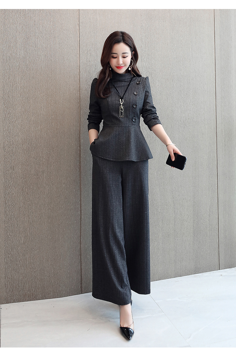 Black Grey Office Two Piece Sets Outfits Women Plus Size Buttons Tops And Wide Leg Pants Suits Elegant Fashion Ladies Suits 2019 43
